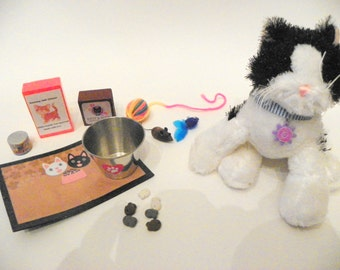 Cat Accessory Set-treats, food, toys for 18 inch doll pets - bowl, yarn ball, mouse