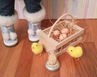 "18"" Doll Farm Set - Chicks, eggs, wood crate, feeder 18 inch doll 1:3 scale"