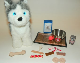Dog Accessory Set-treats, food, bone, for 18 inch dolls - bowl, treats, ball,