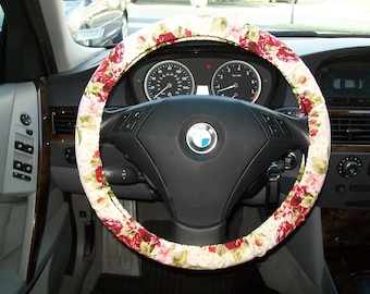 Burgandy Rose Steering Wheel Cover