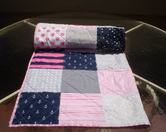 Baby Quilt Nautical Baby Quilt Baby Girl Quilt Patchwork