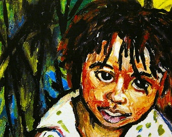 Art Print - Wall Art Children - Ethnic Art - Paintings Bahamas - Red Bays - Andros Island - Bahamas - Portrait Art