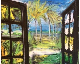 Ocean Art - Beach Art - Island Art - Wall Art - Original Oil Pastel - Leah Reynolds