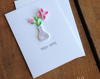 Quilled Pink Spring Flower Card // happy spring