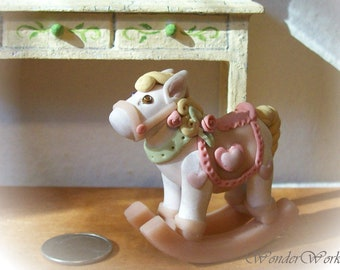 Girlie Pink Rocking Horse Miniature Dollhouse Toy Horse Sculpture 12th Scale Mini Childs Nursery Room Decor,