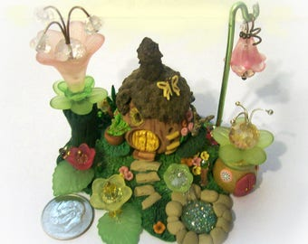 Acorn Magical Hut, Artisan Bling, Miniature Crystal Flowers, Original, Whimsy Sculpture, Unique Fantasy Scene for Terrarium Collectible