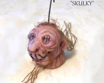 """Gnarly Shrunken """"Sculky"""" the Red-Head is a Realistic 1"""" Original Hand Sculpted Hanging Head for your Mini Halloween Scenes and Decor"""