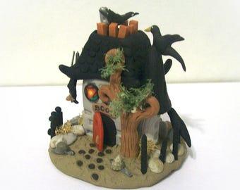Haunted Horror Miniature House Unique Fantasy Sculpture Terrarium Ornament Artist Signed Handmade Detailed Collectible