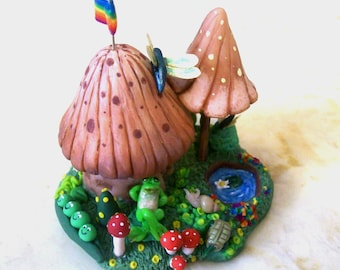Shroom Garden Whimsy Hut is a Miniature Sculpted Tiny Mushroom House with Cute Micro Creatures It's an Original Artisan Collectible