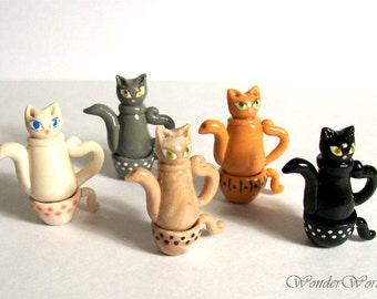 Miniature Kitty Cat Teapot with Stacking Cup Choose One Hand Sculpted Dollhouse 1:12 Scale in Your Kitty Color