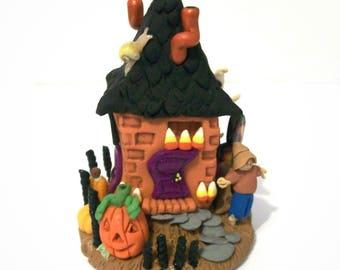 Halloween Whimsy House Tiny Miniature Handmade Fantasy Faerie House Artisan Sculpture Unique Halloween Decor
