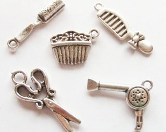 BULK 30 Hair brush and comb charms antique silver tone P219
