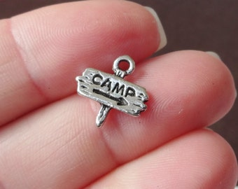"""10, """"CAMP"""", Camping Guidepost Charms (3D) 13x13x2.3mm"""