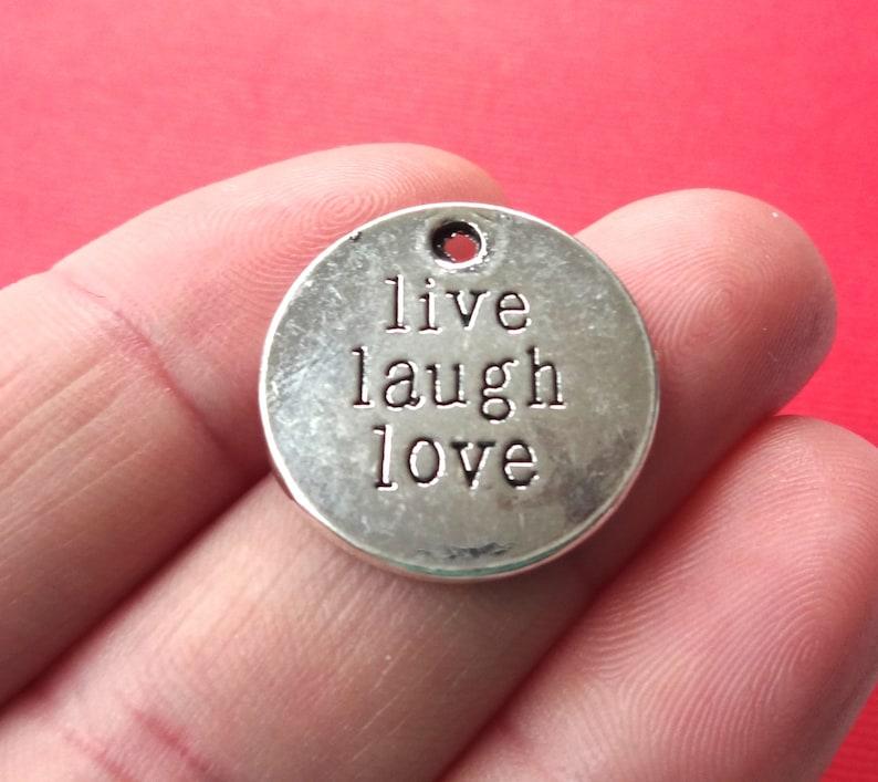 BULK 20  Live Love Laugh Oval Silver Tone Charms SC2087