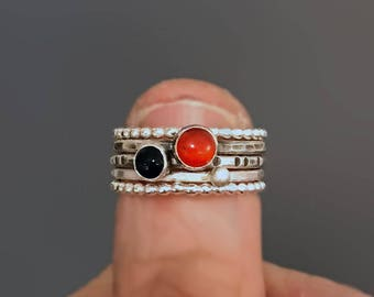 Silver Stacking Rings with Beaded Spacer Bands, Carnelian and Onyx Ring Stack, Stackable Sterling Silver Rings, Stacking Gemstone Rings