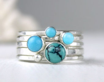 Turquoise Stacking Rings, Hammered Silver Stacking Rings, Stackable Rings, Turquoise Jewelry, Sleeping Beauty Turquoise Rings
