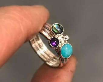 Hammered Silver Stacking Rings with Amazonite, Paua Shell and Purple Amethyst, Abalone Ring, Stackable Rings, Polished Finish