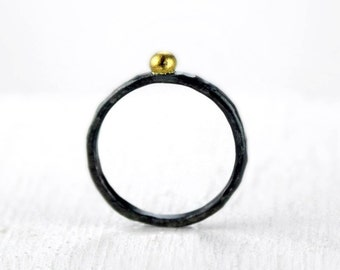 Gold Dot Ring, Hammered Silver Stacking Ring with 22K Gold, Mixed Metal Stackable Ring, Choice of Finish, Black or Lightly Oxidized