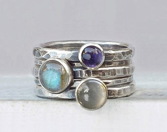 Hammered Silver Stacking Rings with Labradorite, Moonstone, Iolite, Stackable Gemstone Rings, Oxidized Ring Set