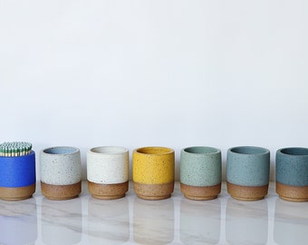 READY TO SHIP : Ceramic match holder, speckled clay, available in a variety of glaze colors.