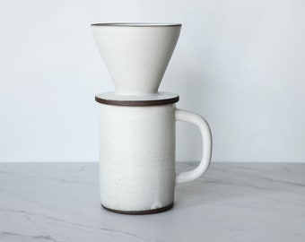SALE : 1-cup coffee pour over set, glazed in matte cream.
