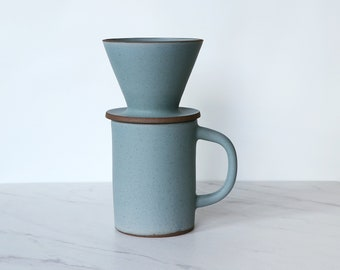 SALE : 1-cup coffee pour over set, glazed in matte turquoise.