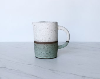 SECONDS SALE : Pourer/Creamer, speckled clay, glazed in cream + mint.