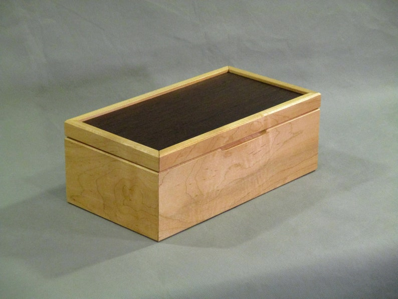 Maple Keepsake Box  Reclaimed Lumber with Leopardwood Top image 0
