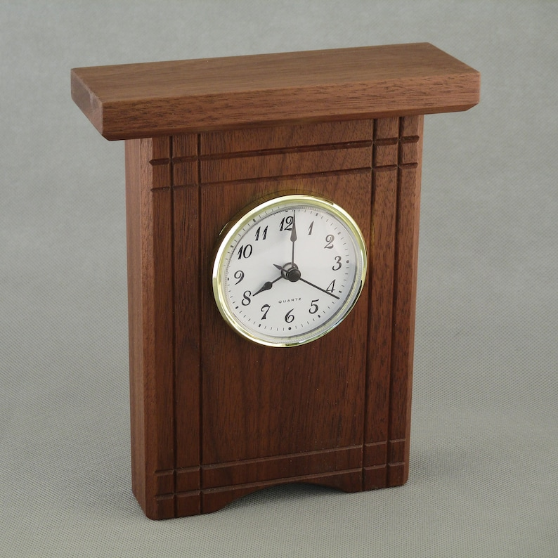 Walnut Desk Clock with Accents image 0