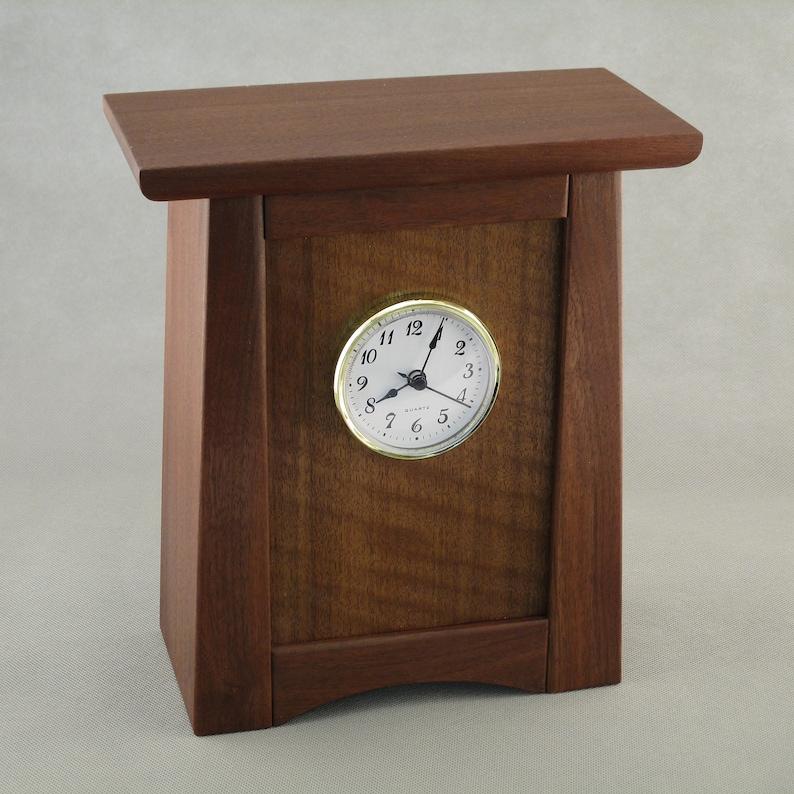 Arts & Crafts Mission Style Clock  Walnut / QS Sapele image 0