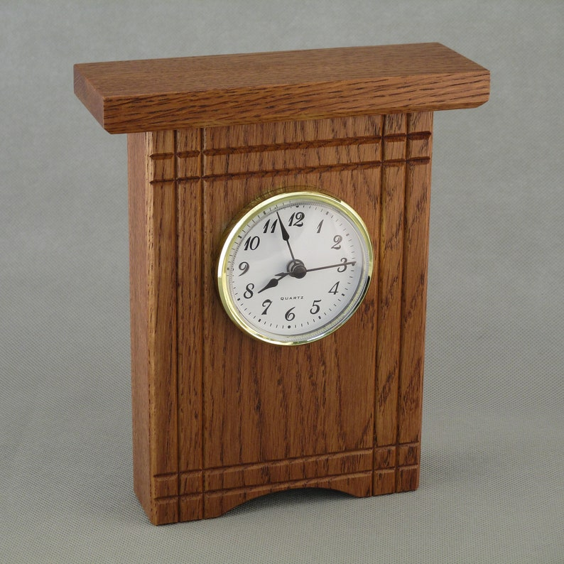 Quarter Sawn Oak Desk Clock with Accents image 0