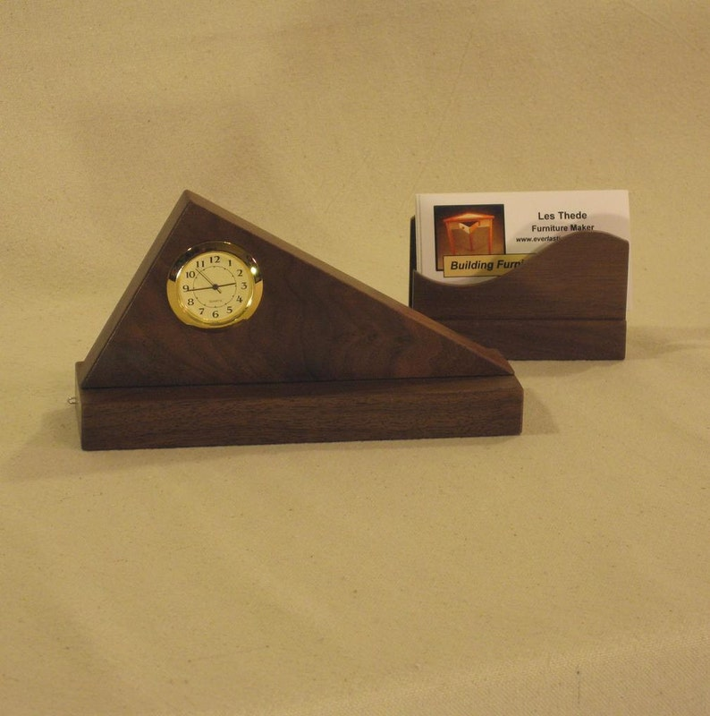 Triangle Desk Clock Walnut with Business Card Holder image 0