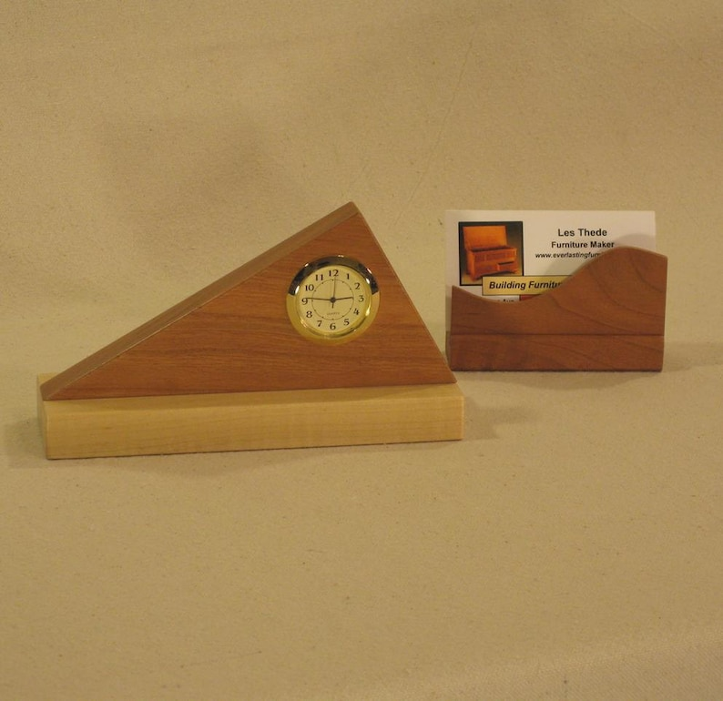 Triangle Desk Clock Cherry and Maple with Business Card image 0