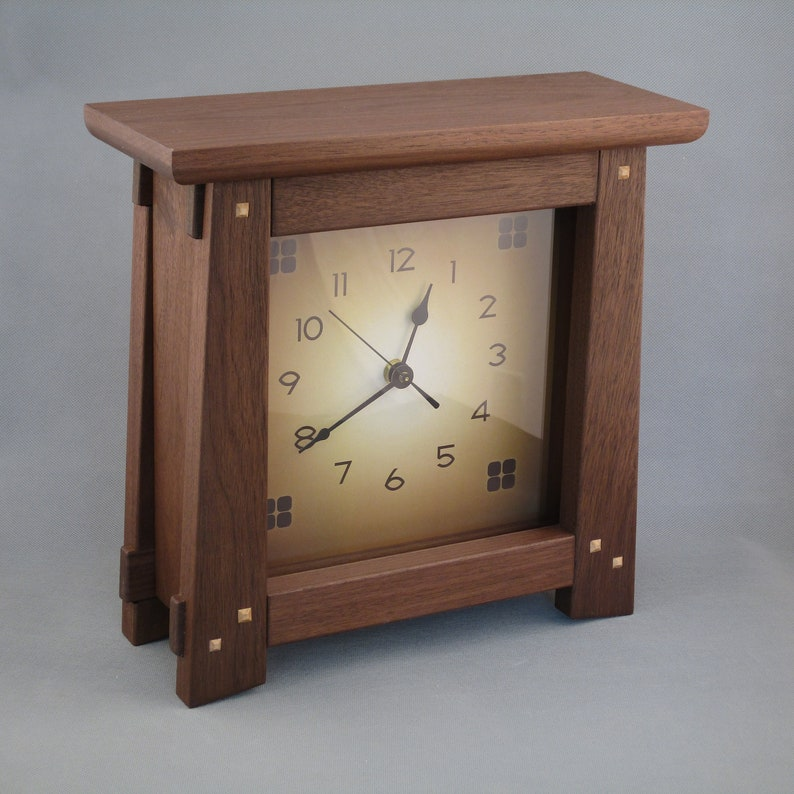 Arts & Crafts Mission Style Clock  Walnut image 0