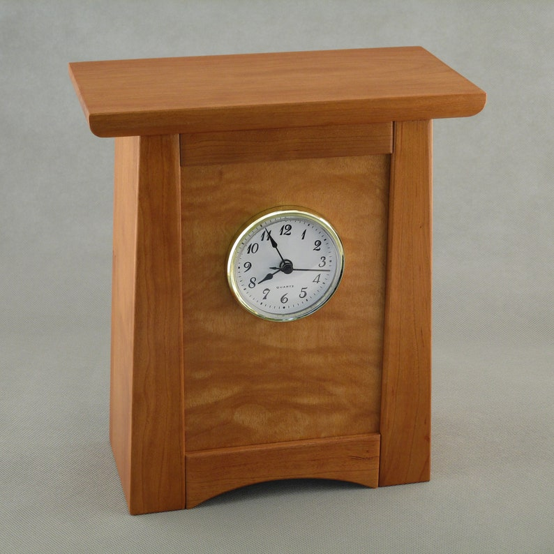 Arts and Crafts / Mission Clock  Cherry with Figured Maple image 0