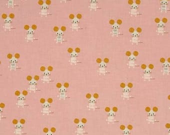 little friends pink, 4064-01, mouse fabric, cotton and steel, sunshine collection, vintage mouse fabric, fabric by the yard, quilting cotton