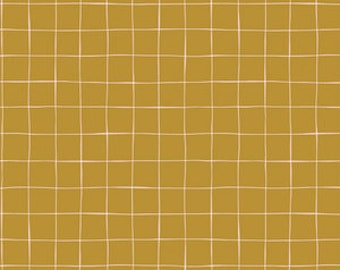 Aerial Clay Art Gallery Gathered GTH-37506 fabrics Mustard pink Grid Check fabric Bonnie Christie fabric quilting cotton mixers farmhouse