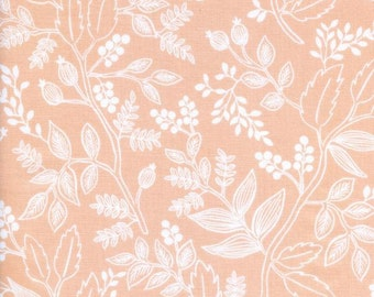 rifle paper fabric, rifle paper co, boho fabric, floral fabric, floral quilt fabric, les fleurs, queen anne peach, quilting cotton