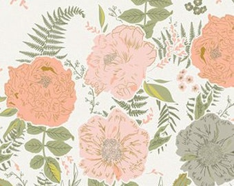 Foraged garland Peony Art Gallery Gathered GTH-37500 fabrics Pink Olive green floral fabric Bonnie Christie fabric quilting cotton