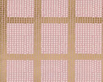 PREORDER August Ship 9012-02 Imagined Landscapes Jen Hewett The Avenues Rose Gold metallic Grid Cotton Steel fabrics Modern Geometric fabric