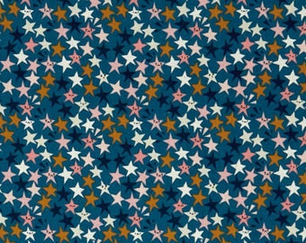 starstruck teal, star fabric, cotton and steel, paper cuts fabric, blue star fabric, 1965-001, fabric by the yard, quilting fabric, mixers