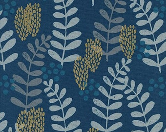 PREORDER August Ship 9011-01 Imagined Landscapes Jen Hewett Fern Dell Navy Cotton & Steel fabrics Modern quilting cotton William Morris