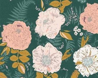 Foraged garland Peony Art Gallery Golden GTH-47500 fabrics Dark Green Pink green floral fabric Bonnie Christie fabric quilting cotton
