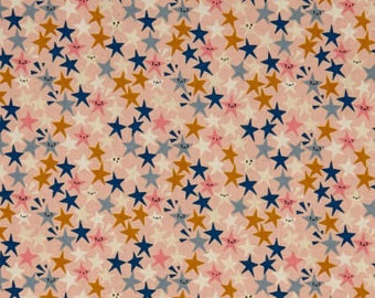 starstruck peachy, star fabric, cotton and steel, paper cuts fabric, peach star fabric, 1965-002, fabric by the yard, quilting fabric, mixer
