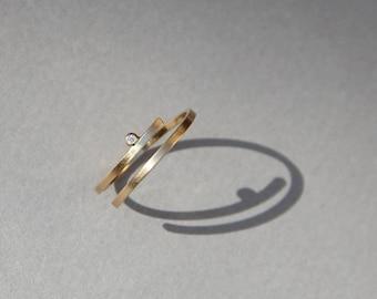 Kimora ring, Modern engagement ring, minimalist engagement ring, 14k gold dainty diamond ring thin diamond ring