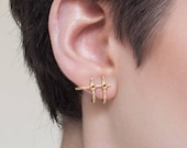 Rhonda huggie earrings gold, ear hugger earrings, minimalist ear climber