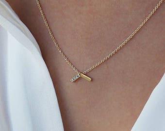 Emma, pave Diamant-Halskette, 14 k gold minimalistische Halskette, 14 k gold V Halskette, zierliche Diamant-Halskette, minimalistische Diamant-Halskette-gold