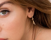 FRIEDA geometric diamond earring, long diamond earrings 14k gold