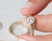 Audrey floating diamond engagement ring, geometric engagement ring
