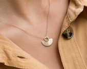 ISSA semi circle pendant necklace in 14k solid gold abstract necklace